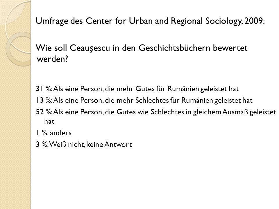 Umfrage des Center for Urban and Regional Sociology, 2009: Wie soll Ceauescu in den Geschichtsbüchern bewertet werden.