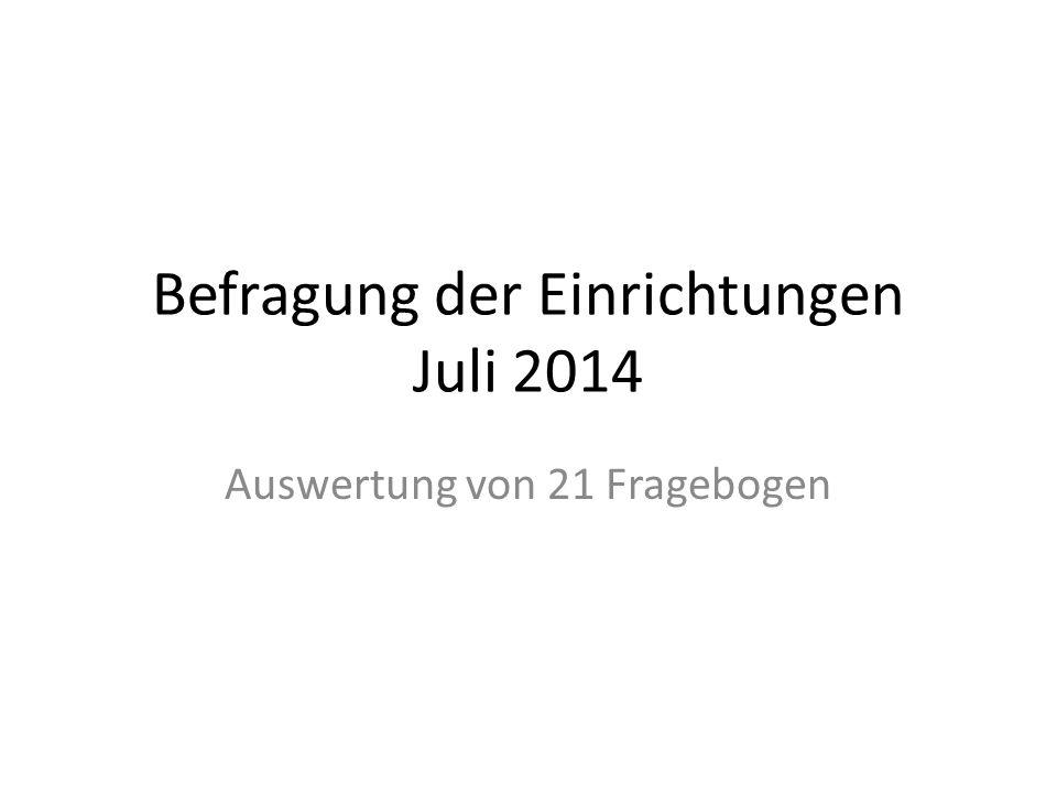 Befragung der Einrichtungen Juli 2014 Auswertung von 21 Fragebogen