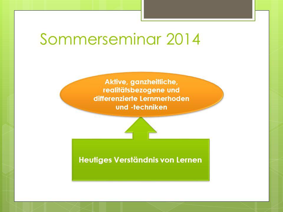 Sommerseminar 2014 Heutiges Verständnis von Lernen Aktive, ganzheitliche, realitätsbezogene und differenzierte Lernmerhoden und -techniken
