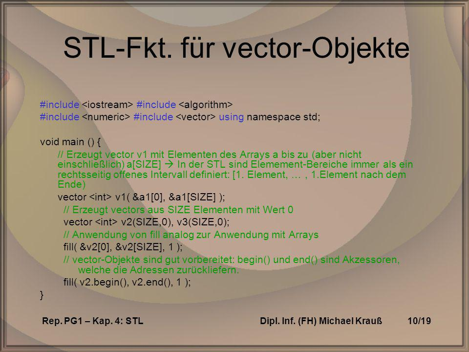 Rep. PG1 – Kap. 4: STLDipl. Inf. (FH) Michael Krauß10/19 STL-Fkt. für vector-Objekte #include #include #include #include using namespace std; void mai