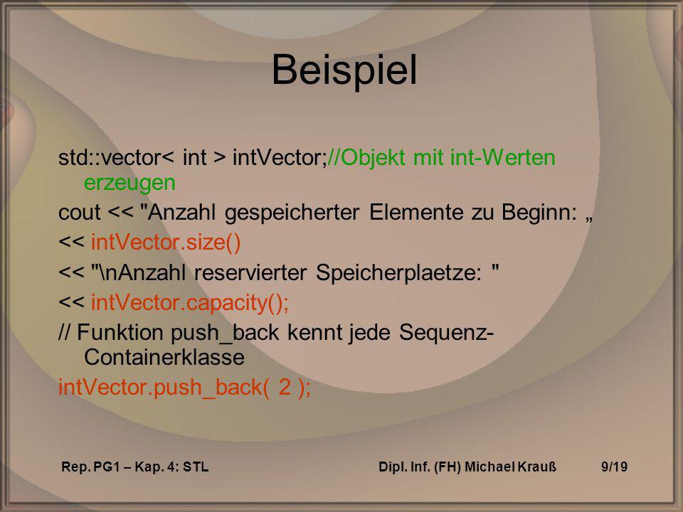 Rep.PG1 – Kap. 4: STLDipl. Inf. (FH) Michael Krauß10/19 STL-Fkt.