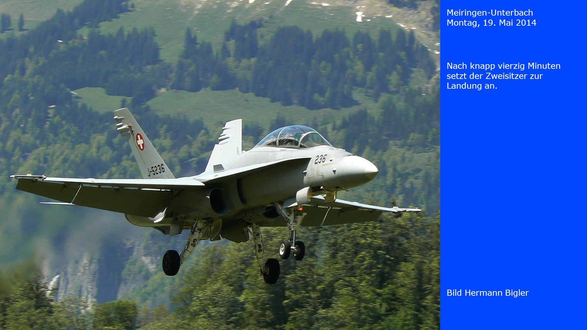 Meiringen-Unterbach Montag, 19. Mai 2014 Bild Hermann Bigler J-5021 landet
