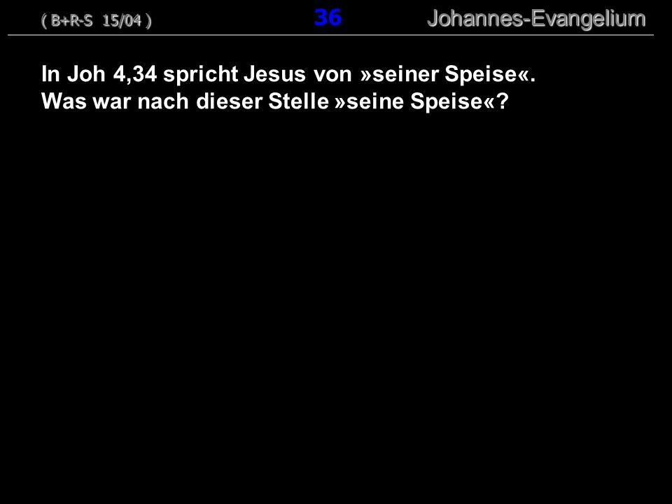 In Joh 4,34 spricht Jesus von »seiner Speise«. Was war nach dieser Stelle »seine Speise«? ( B+R-S 15/04 ) Johannes-Evangelium ( B+R-S 15/04 ) 36 Johan