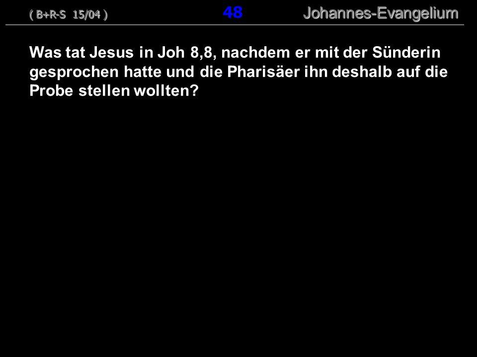 Was tat Jesus in Joh 8,8, nachdem er mit der Sünderin gesprochen hatte und die Pharisäer ihn deshalb auf die Probe stellen wollten? ( B+R-S 15/04 ) Jo
