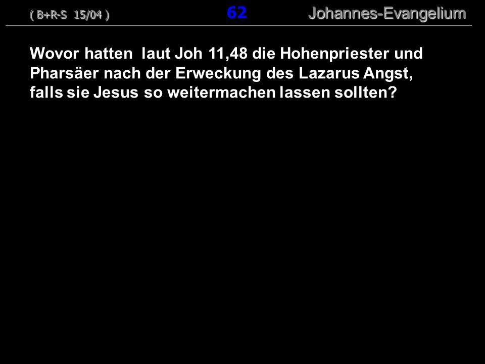 Wovor hatten laut Joh 11,48 die Hohenpriester und Pharsäer nach der Erweckung des Lazarus Angst, falls sie Jesus so weitermachen lassen sollten? ( B+R