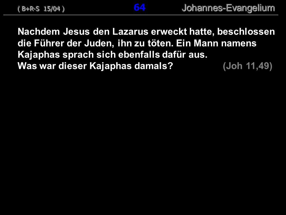 Nachdem Jesus den Lazarus erweckt hatte, beschlossen die Führer der Juden, ihn zu töten. Ein Mann namens Kajaphas sprach sich ebenfalls dafür aus. Was