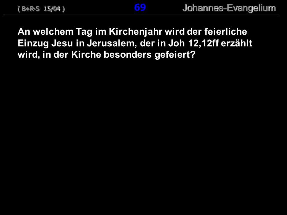 An welchem Tag im Kirchenjahr wird der feierliche Einzug Jesu in Jerusalem, der in Joh 12,12ff erzählt wird, in der Kirche besonders gefeiert? ( B+R-S