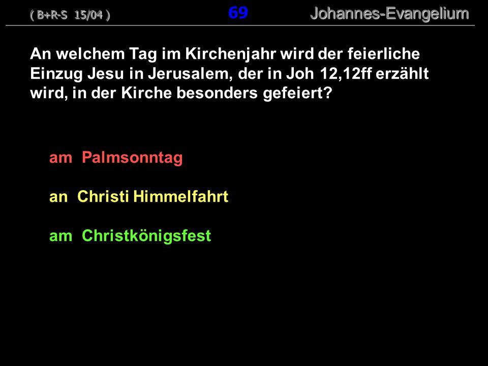 am Palmsonntag an Christi Himmelfahrt am Christkönigsfest An welchem Tag im Kirchenjahr wird der feierliche Einzug Jesu in Jerusalem, der in Joh 12,12ff erzählt wird, in der Kirche besonders gefeiert.