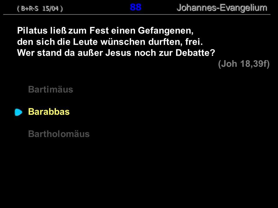 Bartimäus Barabbas Bartholomäus Pilatus ließ zum Fest einen Gefangenen, den sich die Leute wünschen durften, frei. Wer stand da außer Jesus noch zur D