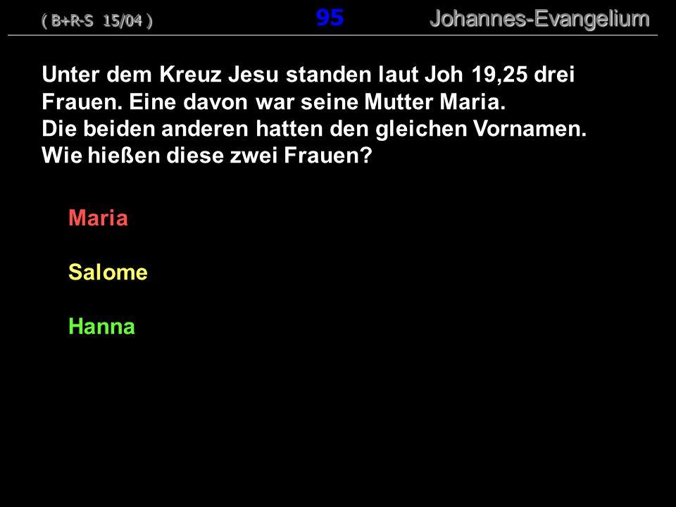 Maria Salome Hanna Unter dem Kreuz Jesu standen laut Joh 19,25 drei Frauen. Eine davon war seine Mutter Maria. Die beiden anderen hatten den gleichen