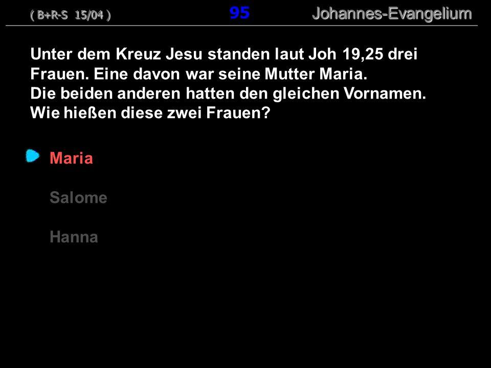 Maria Salome Hanna Unter dem Kreuz Jesu standen laut Joh 19,25 drei Frauen.