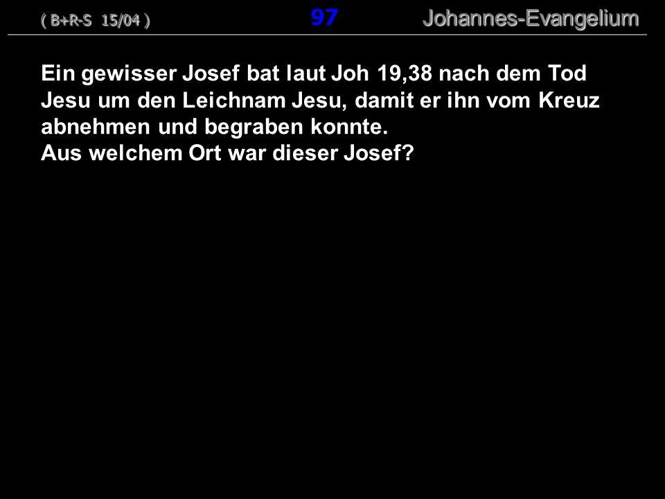 Ein gewisser Josef bat laut Joh 19,38 nach dem Tod Jesu um den Leichnam Jesu, damit er ihn vom Kreuz abnehmen und begraben konnte.