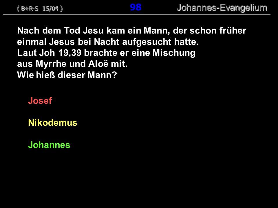 Josef Nikodemus Johannes Nach dem Tod Jesu kam ein Mann, der schon früher einmal Jesus bei Nacht aufgesucht hatte. Laut Joh 19,39 brachte er eine Misc