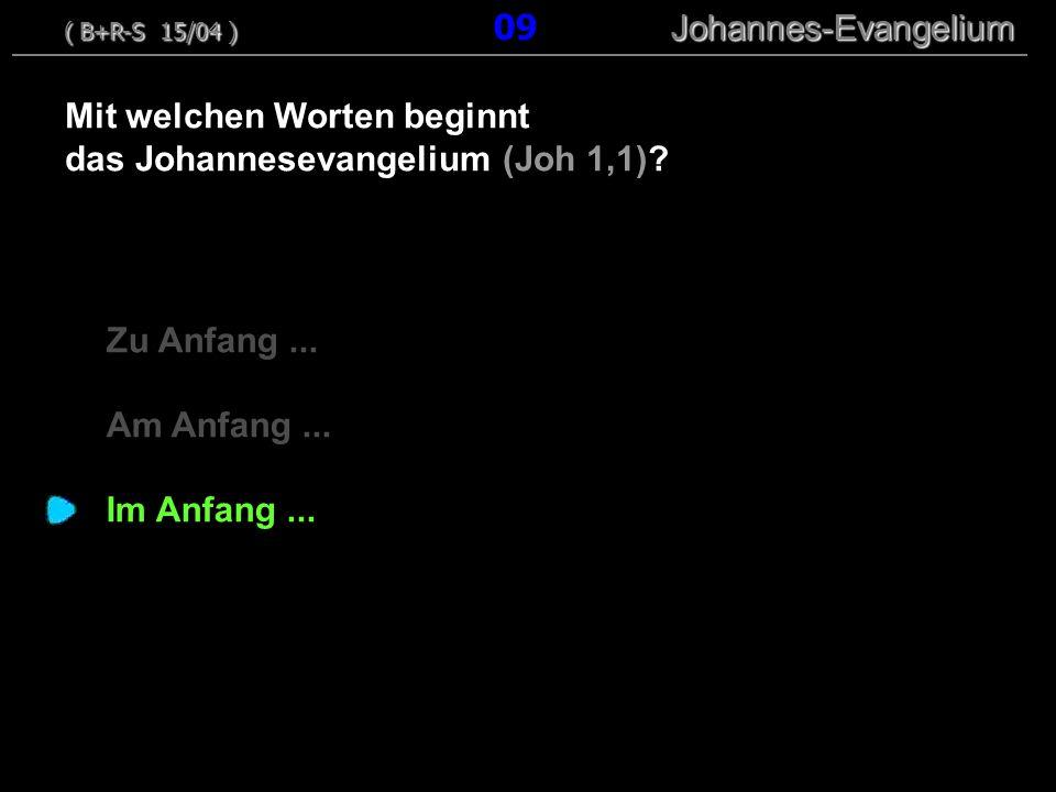 Zu Anfang...Am Anfang... Im Anfang... Mit welchen Worten beginnt das Johannesevangelium (Joh 1,1).