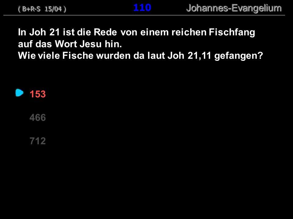 153 466 712 In Joh 21 ist die Rede von einem reichen Fischfang auf das Wort Jesu hin. Wie viele Fische wurden da laut Joh 21,11 gefangen? ( B+R-S 15/0