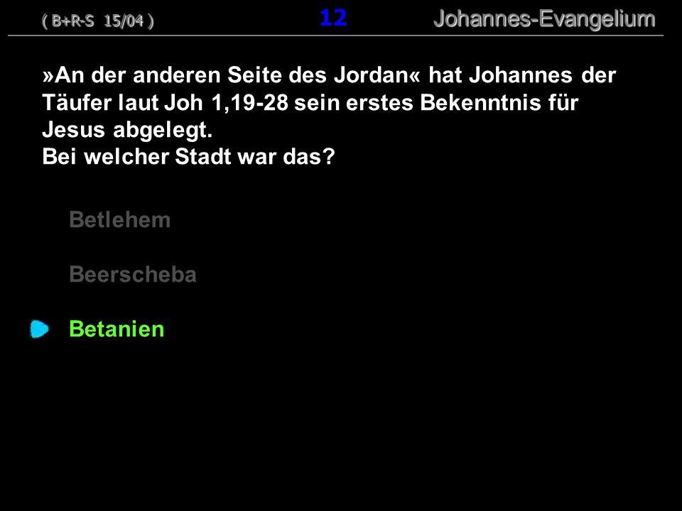 Betlehem Beerscheba Betanien »An der anderen Seite des Jordan« hat Johannes der Täufer laut Joh 1,19-28 sein erstes Bekenntnis für Jesus abgelegt.