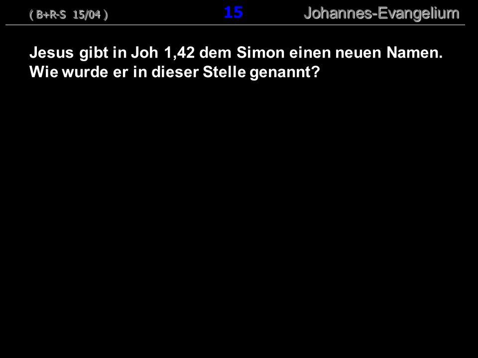 Jesus gibt in Joh 1,42 dem Simon einen neuen Namen. Wie wurde er in dieser Stelle genannt? ( B+R-S 15/04 ) Johannes-Evangelium ( B+R-S 15/04 ) 15 Joha