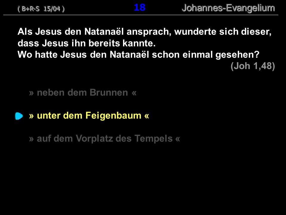 » neben dem Brunnen « » unter dem Feigenbaum « » auf dem Vorplatz des Tempels « Als Jesus den Natanaël ansprach, wunderte sich dieser, dass Jesus ihn bereits kannte.