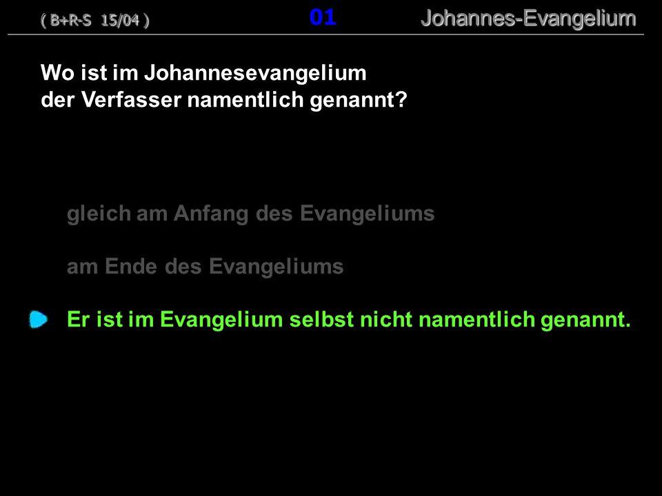 gleich am Anfang des Evangeliums am Ende des Evangeliums Er ist im Evangelium selbst nicht namentlich genannt.