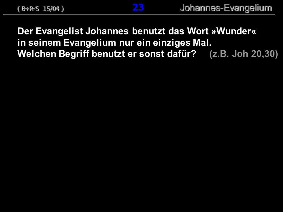 Der Evangelist Johannes benutzt das Wort »Wunder« in seinem Evangelium nur ein einziges Mal.