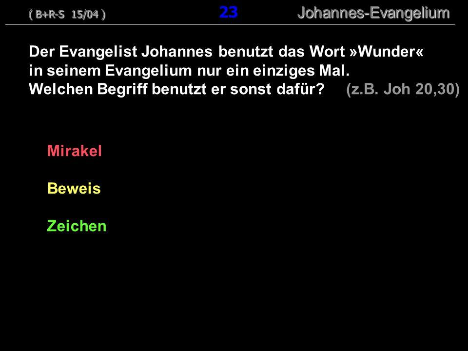 Mirakel Beweis Zeichen Der Evangelist Johannes benutzt das Wort »Wunder« in seinem Evangelium nur ein einziges Mal.