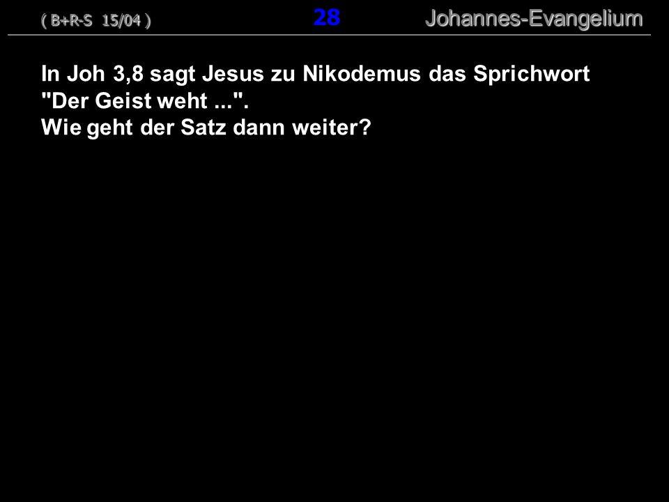 In Joh 3,8 sagt Jesus zu Nikodemus das Sprichwort Der Geist weht... .