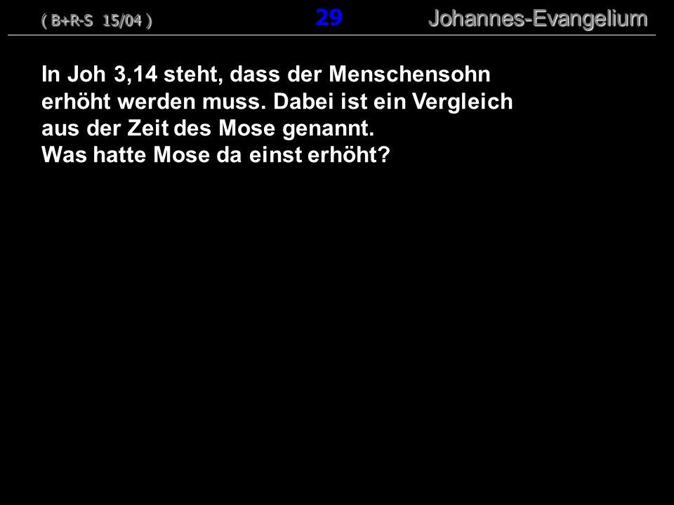 In Joh 3,14 steht, dass der Menschensohn erhöht werden muss. Dabei ist ein Vergleich aus der Zeit des Mose genannt. Was hatte Mose da einst erhöht? (