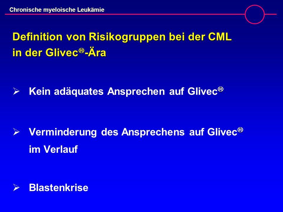 Chronische myeloische Leukämie Definition von Risikogruppen bei der CML in der Glivec  -Ära   Kein adäquates Ansprechen auf Glivec    Verminderung des Ansprechens auf Glivec  im Verlauf  Blastenkrise