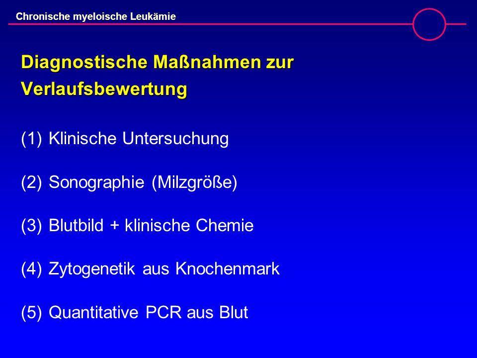 Chronische myeloische Leukämie Diagnostische Maßnahmen zur Verlaufsbewertung (1)Klinische Untersuchung (2)Sonographie (Milzgröße) (3)Blutbild + klinische Chemie (4)Zytogenetik aus Knochenmark (5)Quantitative PCR aus Blut