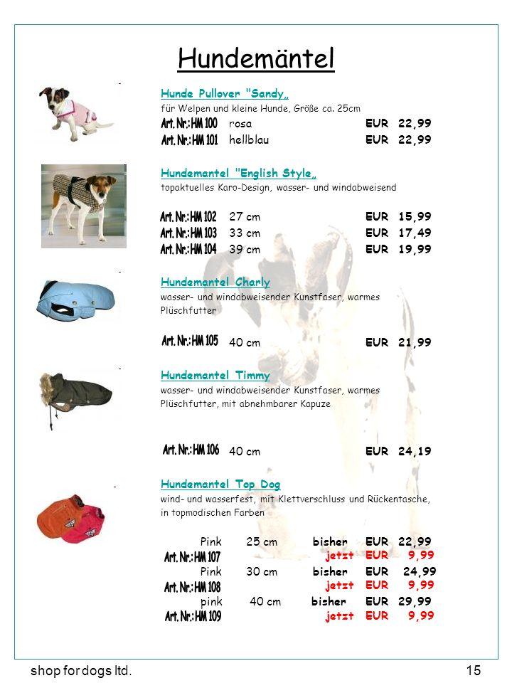 shop for dogs ltd.15 Hundemäntel Hunde Pullover