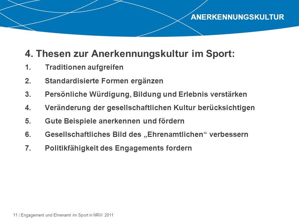 11 | Engagement und Ehrenamt im Sport in NRW 2011 1.Traditionen aufgreifen 2.Standardisierte Formen ergänzen 3.Persönliche Würdigung, Bildung und Erle