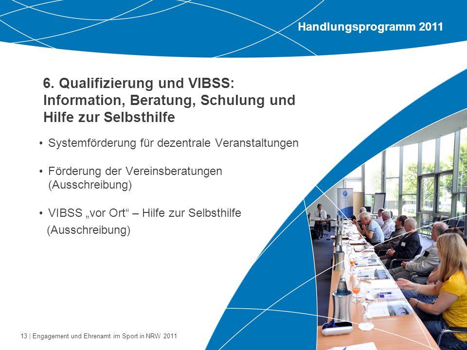 13 | Engagement und Ehrenamt im Sport in NRW 2011 6. Qualifizierung und VIBSS: Information, Beratung, Schulung und Hilfe zur Selbsthilfe Systemförderu