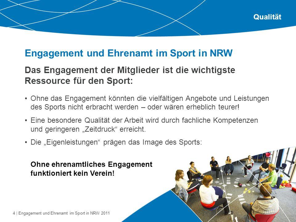 4 | Engagement und Ehrenamt im Sport in NRW 2011 Engagement und Ehrenamt im Sport in NRW Qualität Das Engagement der Mitglieder ist die wichtigste Res