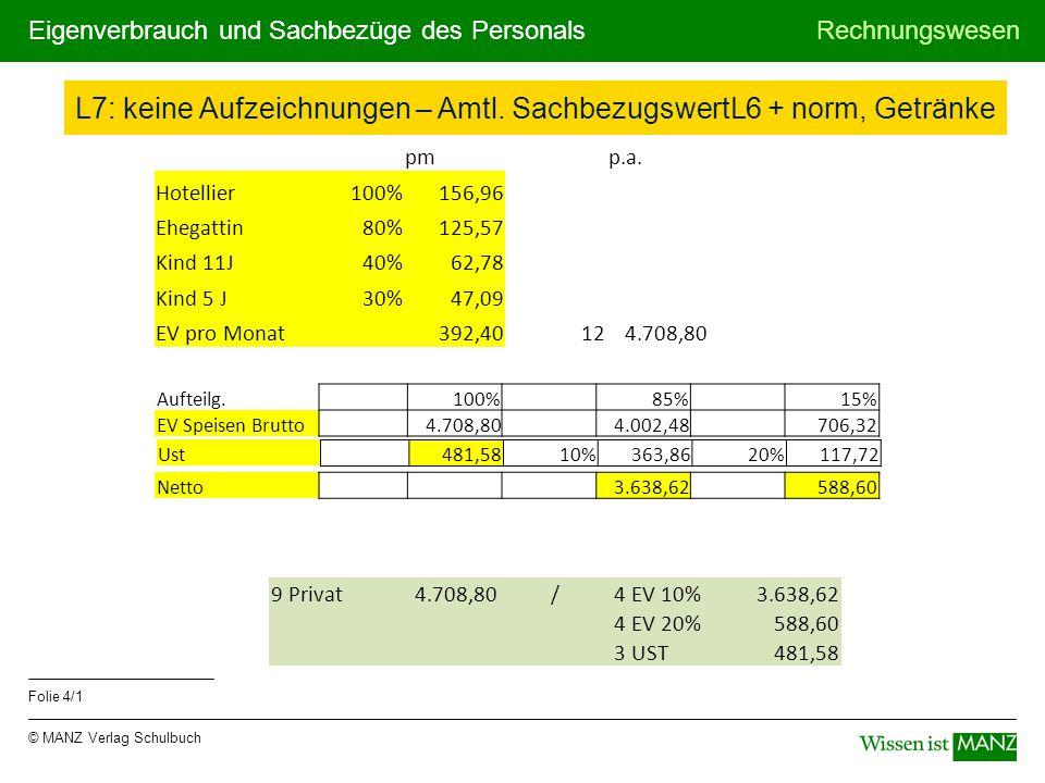 © MANZ Verlag Schulbuch Rechnungswesen Folie 4/1 Eigenverbrauch und Sachbezüge des Personals L7: keine Aufzeichnungen – Amtl. SachbezugswertL6 + norm,