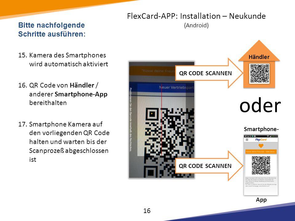 Smartphone- App Bitte nachfolgende Schritte ausführen: 15.Kamera des Smartphones wird automatisch aktiviert 16.QR Code von Händler / anderer Smartphon