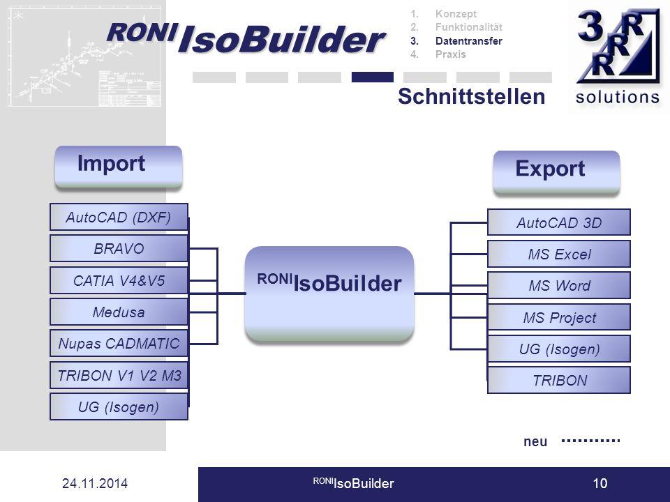 RONI IsoBuilder 24.11.2014 RONI IsoBuilder10 Schnittstellen AutoCAD 3D MS Excel MS Word MS Project UG (Isogen) AutoCAD (DXF) BRAVO CATIA V4&V5 Medusa