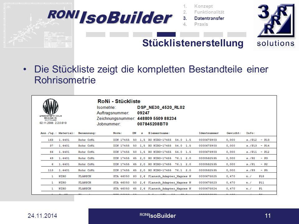 RONI IsoBuilder 24.11.2014 RONI IsoBuilder11 Stücklistenerstellung Die Stückliste zeigt die kompletten Bestandteile einer Rohrisometrie 1.Konzept 2.Fu