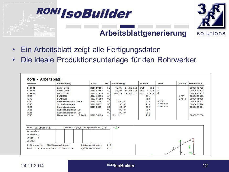 RONI IsoBuilder 24.11.2014 RONI IsoBuilder12 Arbeitsblattgenerierung Ein Arbeitsblatt zeigt alle Fertigungsdaten Die ideale Produktionsunterlage für d
