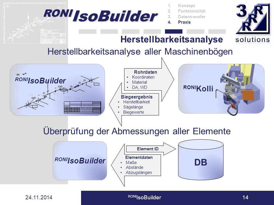RONI IsoBuilder 24.11.2014 RONI IsoBuilder14 Herstellbarkeitsanalyse Herstellbarkeitsanalyse aller Maschinenbögen Rohrdaten Koordinaten Material DA, W