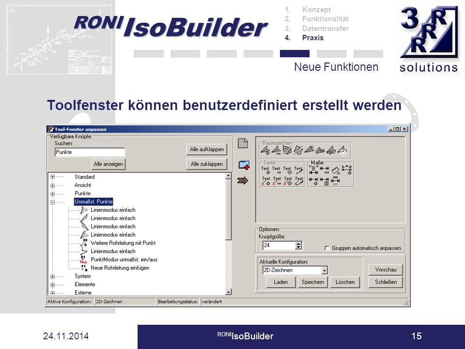 24.11.2014 RONI IsoBuilder15 Neue Funktionen Toolfenster können benutzerdefiniert erstellt werden 1.Konzept 2.Funktionalität 3.Datentransfer 4.Praxis
