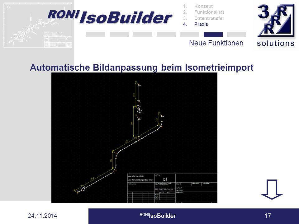 RONI IsoBuilder 24.11.2014 RONI IsoBuilder17 Neue Funktionen 1.Konzept 2.Funktionalität 3.Datentransfer 4.Praxis Automatische Bildanpassung beim Isome