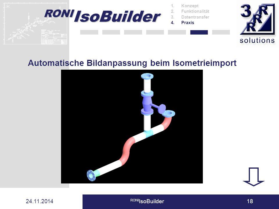 RONI IsoBuilder 24.11.2014 RONI IsoBuilder18 1.Konzept 2.Funktionalität 3.Datentransfer 4.Praxis Automatische Bildanpassung beim Isometrieimport