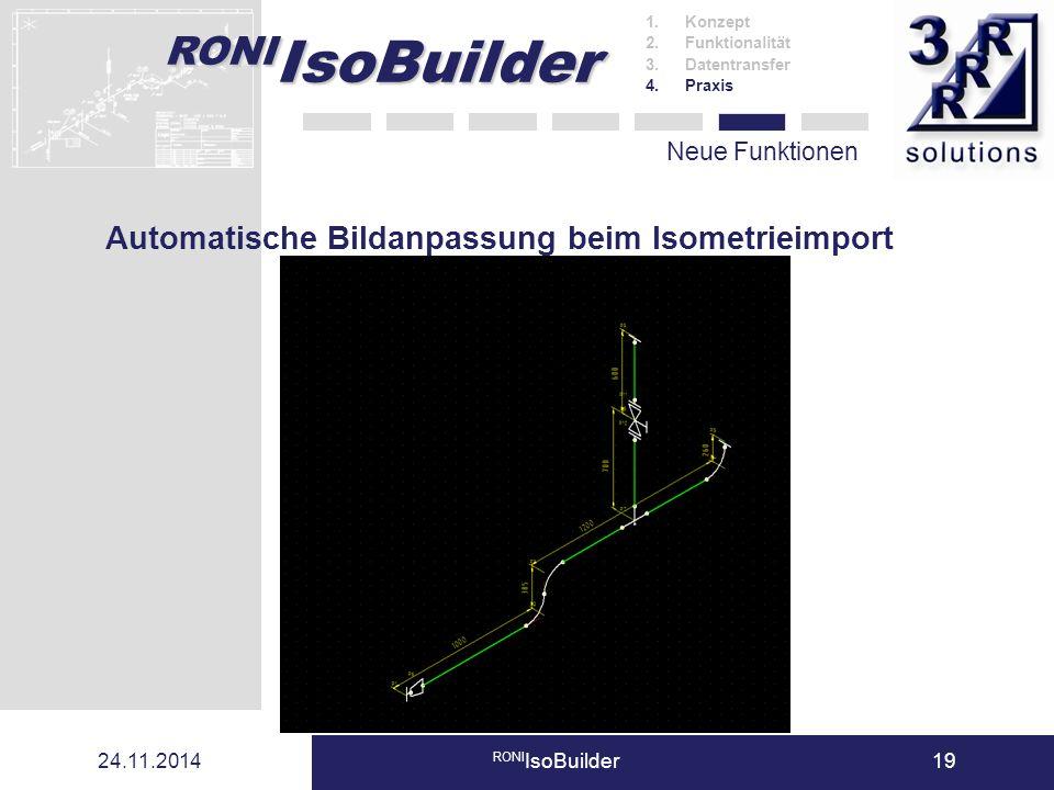 RONI IsoBuilder 24.11.2014 RONI IsoBuilder19 Neue Funktionen 1.Konzept 2.Funktionalität 3.Datentransfer 4.Praxis Automatische Bildanpassung beim Isome
