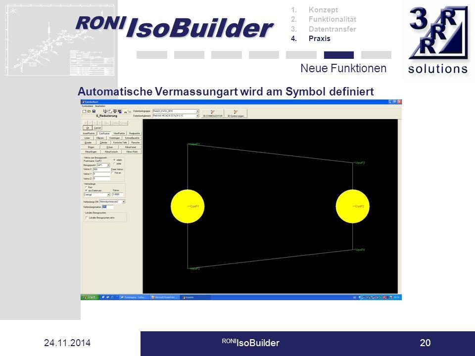 RONI IsoBuilder 24.11.2014 RONI IsoBuilder20 Neue Funktionen 1.Konzept 2.Funktionalität 3.Datentransfer 4.Praxis Automatische Vermassungart wird am Sy