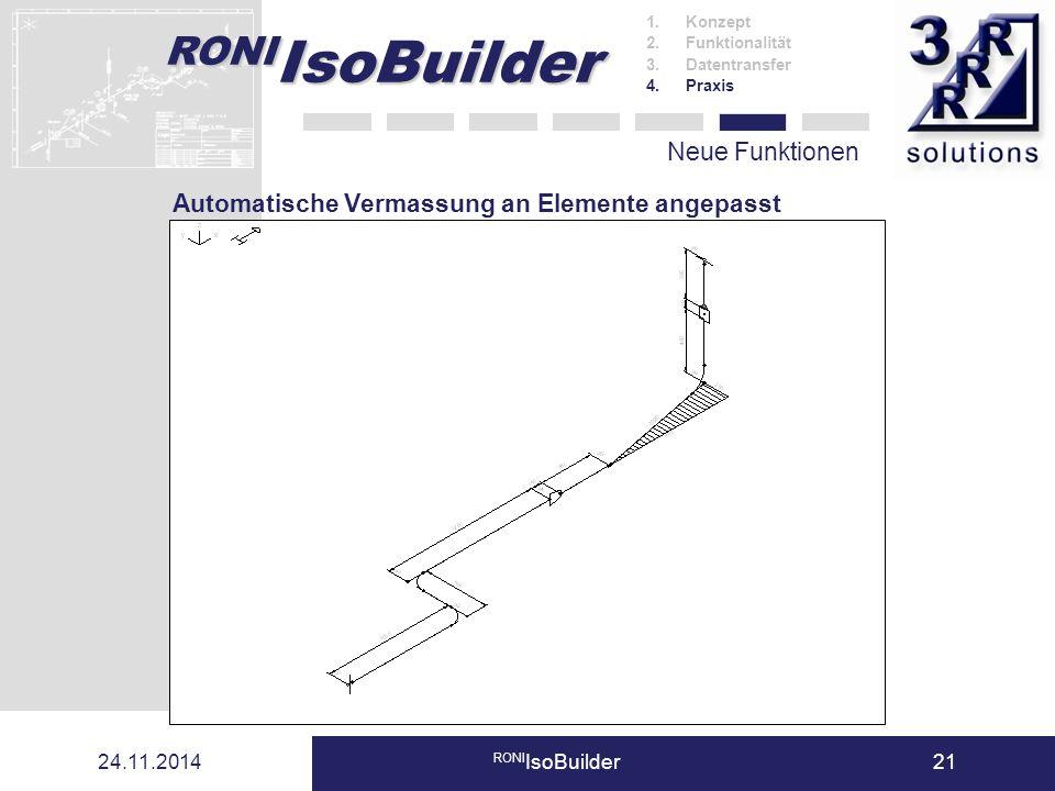 RONI IsoBuilder 24.11.2014 RONI IsoBuilder21 Neue Funktionen 1.Konzept 2.Funktionalität 3.Datentransfer 4.Praxis Automatische Vermassung an Elemente a