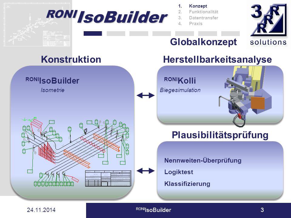 24.11.2014 RONI IsoBuilder3 Globalkonzept KonstruktionHerstellbarkeitsanalyse RONI Kolli Biegesimulation RONI IsoBuilder Isometrie Plausibilitätsprüfu