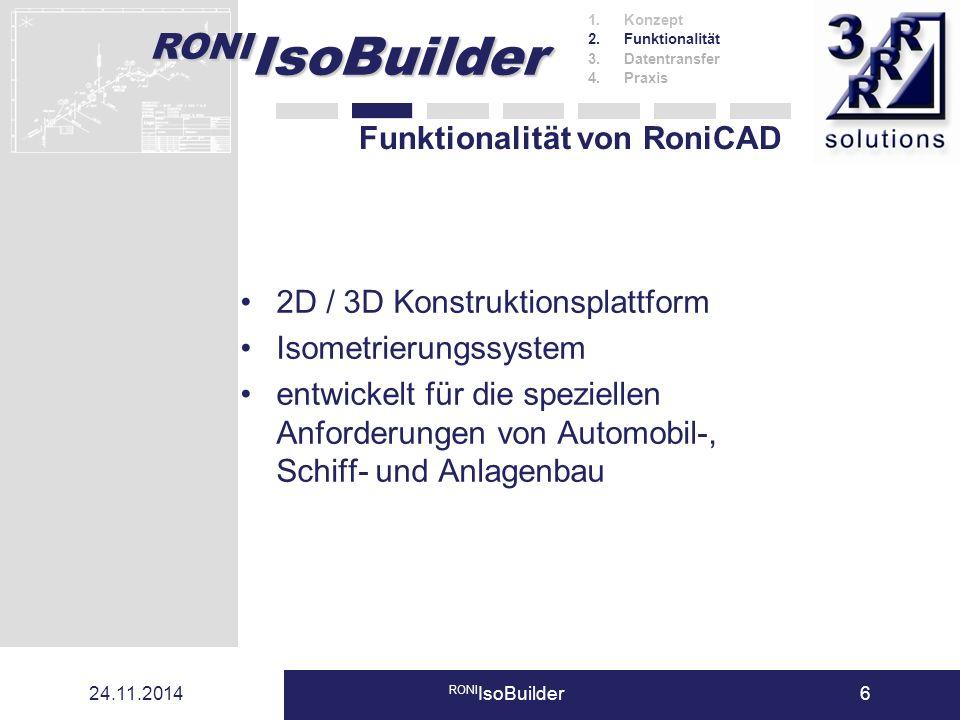 RONI IsoBuilder 24.11.2014 RONI IsoBuilder6 Funktionalität von RoniCAD 2D / 3D Konstruktionsplattform Isometrierungssystem entwickelt für die speziell