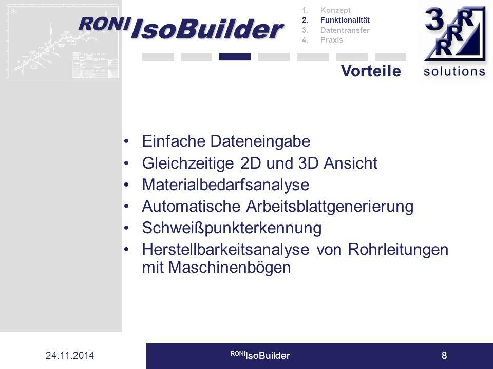 RONI IsoBuilder 24.11.2014 RONI IsoBuilder8 Einfache Dateneingabe Gleichzeitige 2D und 3D Ansicht Materialbedarfsanalyse Automatische Arbeitsblattgene