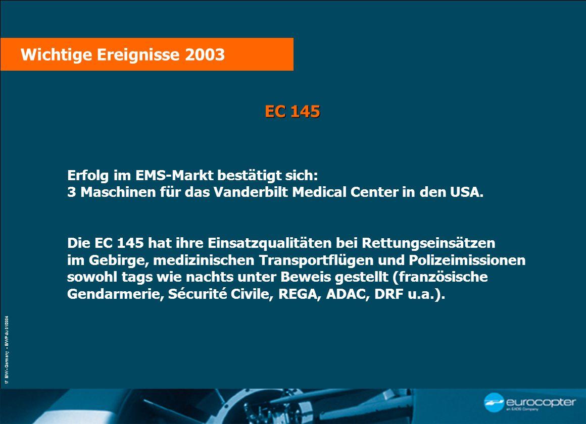 VŒUX À LA PRESSE Paris, le 21 janvier 2004 17 E/W - Germany - E/WP du 01/2004 EC 145 Erfolg im EMS-Markt bestätigt sich: 3 Maschinen für das Vanderbilt Medical Center in den USA.