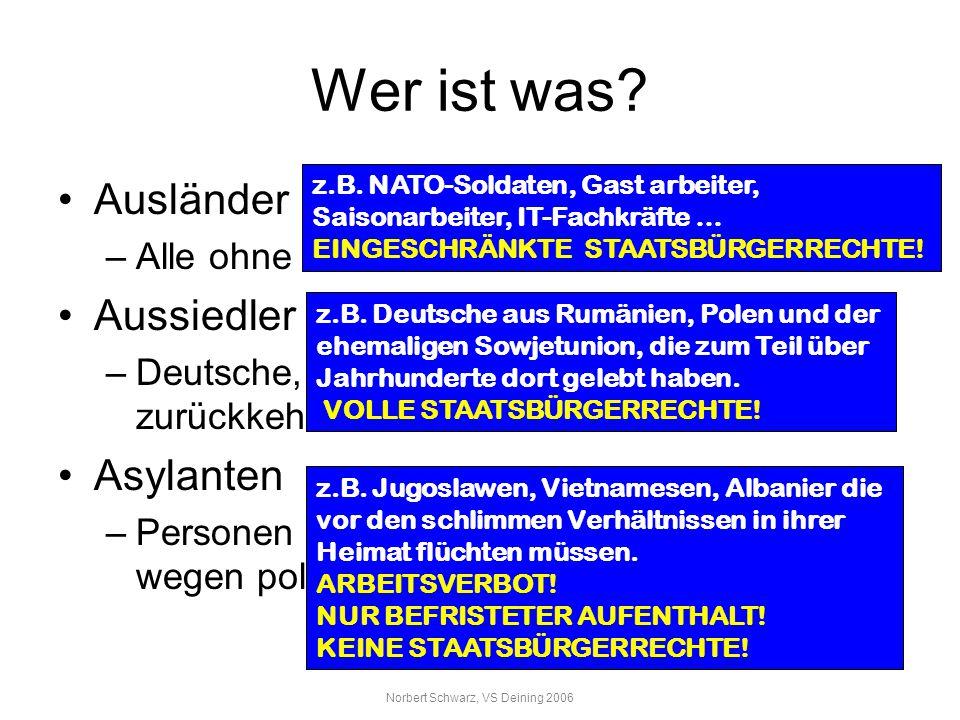 Norbert Schwarz, VS Deining 2006 Wer ist was? Ausländer –Alle ohne deutschen Pass Aussiedler –Deutsche, die aus ehemaligen Ostgebieten zurückkehren As